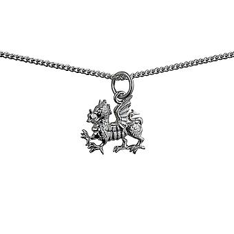 Silver 15x11mm Welsh Dragon Pendant with a curb Chain 24 inches