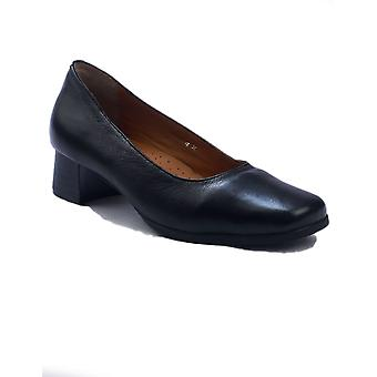 Amblers Walford Ladies Wide Fit Court Shoes Textile Leather PU Slip On Fastening