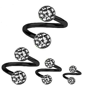 Torsione a spirale Piercing titanio nero 1,2 mm, Multi sfera di cristallo Black Diamond