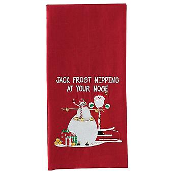 Jack Frost Nipping At Your Nose Snowman Embroidered Red Kitchen Dish Towel