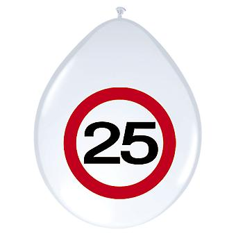Balloon of balloons 8 St. traffic sign number 25 birthday 30 cm decoration party