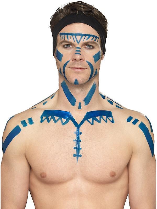 Mettre Bleu Schtroumpf Maquillage Latex Liquide Monstre Spatule Avec qSUzMpV