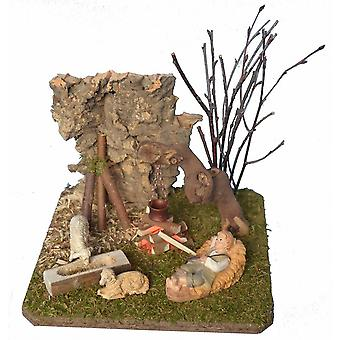 Landscape with Campfire, Shepherd and sheep crib accessories for Nativity creches and kindergarten