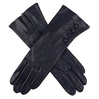 Dents Rose Silk Lined Leather Gloves - Navy