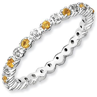 Sterling Silver Polished Prong set Rhodium-plated Stackable Expressions Citrine and Diamond Ring - Ring Size: 5 to 10