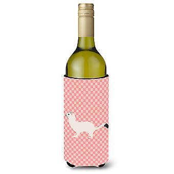Stoat Short-tailed Weasel Pink Check Wine Bottle Beverge Insulator Hugger