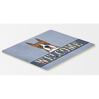 Carolines trésors BB1409CMT Boxer cuisine Bienvenue ou tapis de bain 20 x 30