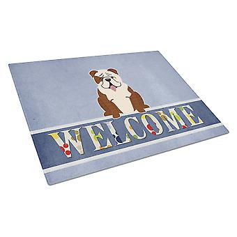 Engelsk Bulldog Brindle hvit velkommen Glass skjærebrett store