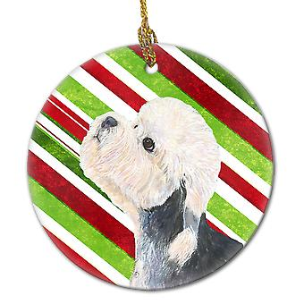 Dandie Dinmont Terrier Candy Cane Holiday Christmas Ceramic Ornament SS4572