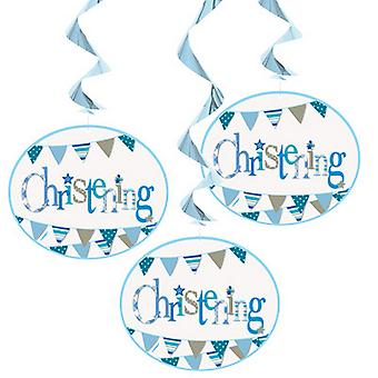 Unique Party Bunting Christening Hanging Decorations (Pack Of 3)