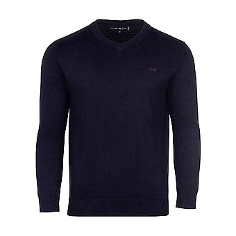 V-Neck Cott/Cash Sweater - Navy