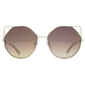 Guess Metal Peaked Round Sunglasses In Gold Brown Mirror