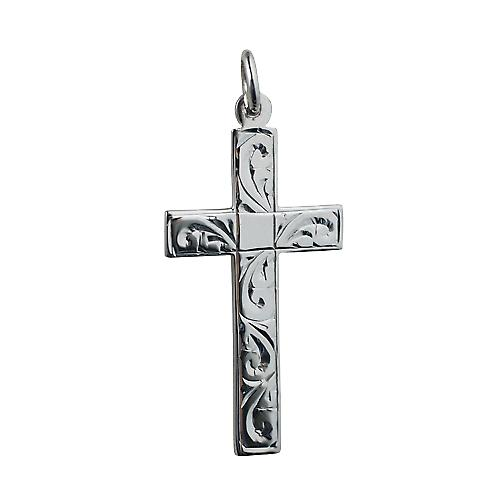 Silver 34x19mm flat Latin hand engraved Cross