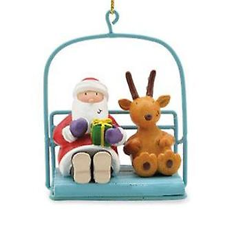 Skiing Santa in Chairlift Holiday Christmas Ornament