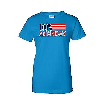 Women's USA Flag T Shirt Juniors 100% Proud to be an American