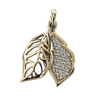 Gold Leaf and Silver 925 pendant adorned with White Swarovski Crystals
