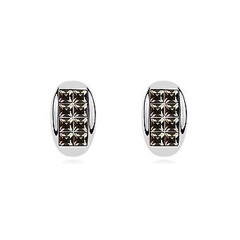 Oorbellen Halve Maen kristallen van Swarovski Element zwart-wit goud plaat
