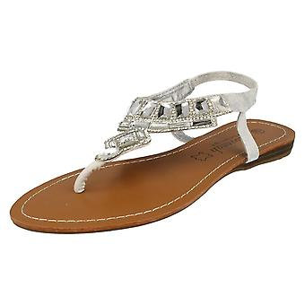 Ladies Savannah Flat Diamante Jewel Trim Toe Post Sandal F0857