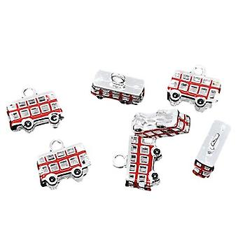 Packet 5 x Red Enamel & Alloy 17mm Bus Charm/Pendant ZX03780