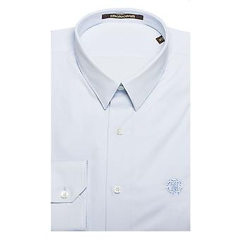 Roberto Cavalli Men's Point Collar Cotton Dress Shirt Light Blue
