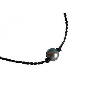 Pearl 12 mm necklace MERCY-BLU leather necklace chain Tahiti grey