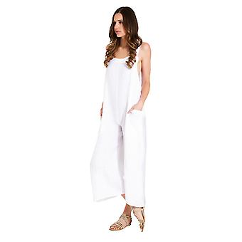 Ladies Lightweight Loose Fit Linen Dungarees - White One Size Wide Leg Overalls