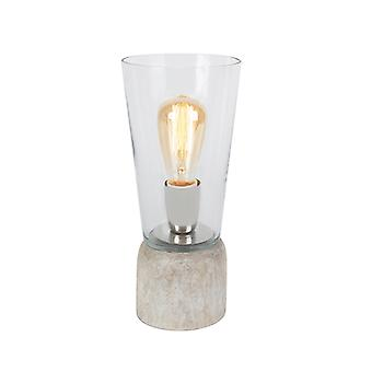 QAZQA Table Lamp Atif Wood with Clear Glass