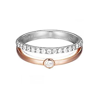 ESPRIT ladies ring bicolor silver cubic zirconia double Délicat ESRG92491A1