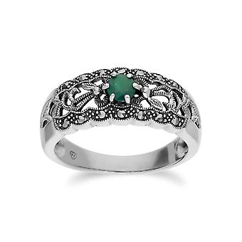 Gemondo Sterling Silver Emerald & Marcasite Art Nouveau Ring