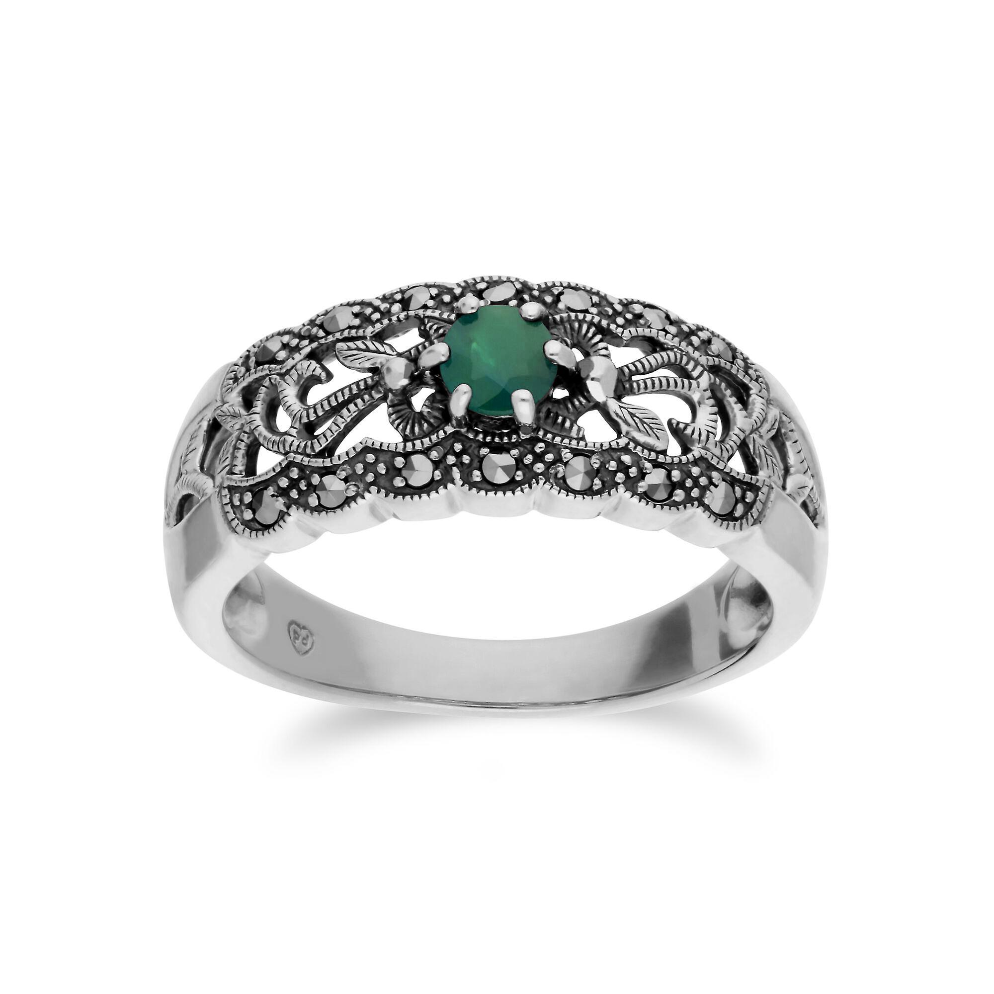Gemondo argent Sterling Emerald & marcassite Art Nouveau Ring