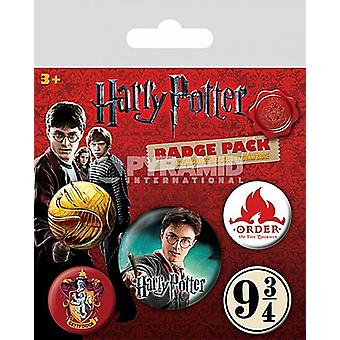 Harry Potter Gryffindor 5 Round Pin Badges In Pack
