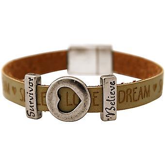 Gemshine - Damen - Armband - Herz - Liebe - WISHES - Braun - Sand - Magnetverschluss - Survivor - Believe
