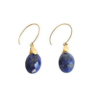 Gemshine - ladies - earrings - gold plated - lapis lazuli - blue - 2 cm