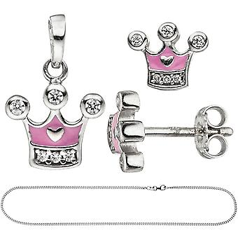 Kids girls pink 925 Silver cubic zirconia jewelry set Crown pink chain 42 cm