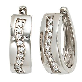 Hoops around 925 sterling silver rhodium plated 18 cubic zirconia earrings silver