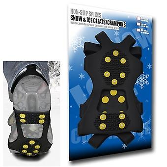 Medium - Ice Traction Universal Slip-on Stretch Fit Snow & Ice Spikes (Grips Crampons Cleats) - 10 Studs - Medium