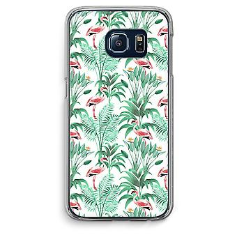 Samsung Galaxy S6 Edge Transparent Case (Soft) - Flamingo leaves
