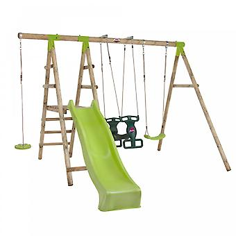 Plum Swing Set - Muriqui Wooden Swing Set with Green Kids Slide, Glider Swing,