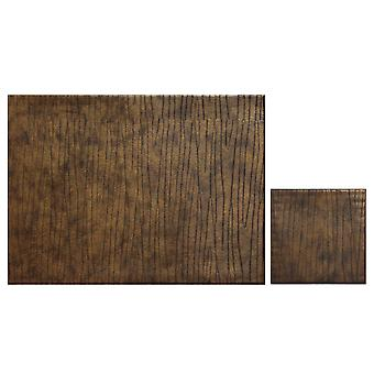 iStyle Set of 4 Faux Leather Placemats, Bronze with Free Coasters