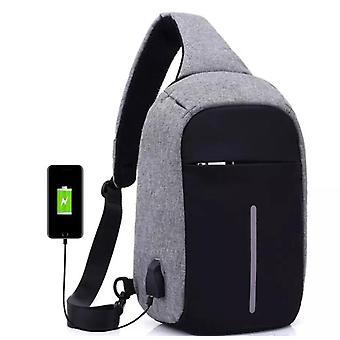 Anti-Diebstahl-Umhängetasche mit USB aufladen-grau