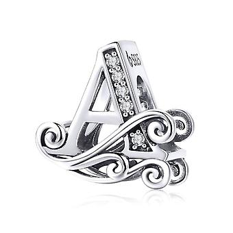Sterling silver alphabet charm with transparent zirconia stones letter A