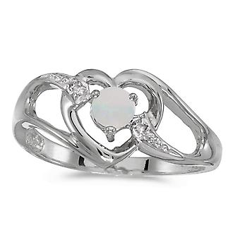 14k White Gold Round Opal And Diamond Heart Ring