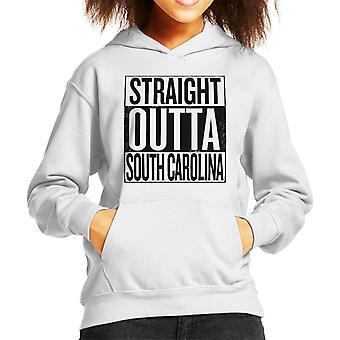 Black Text Straight Outta South Carolina US States Kid's Hooded Sweatshirt