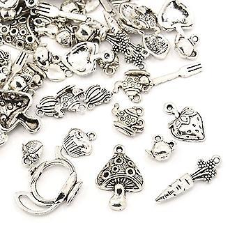 Pakke 30 gram Antikk sølv tibetanske 5-40mm mat sjarm/anheng blanding HA12480