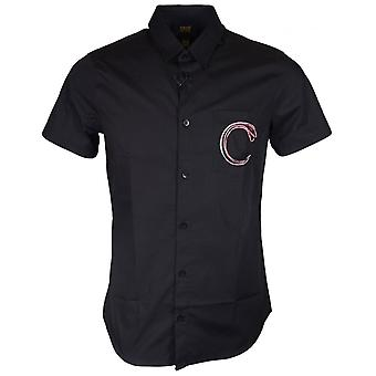 Cavalli Class Popeline Yuppie Soft Slim Fit Black Cotton Shirt