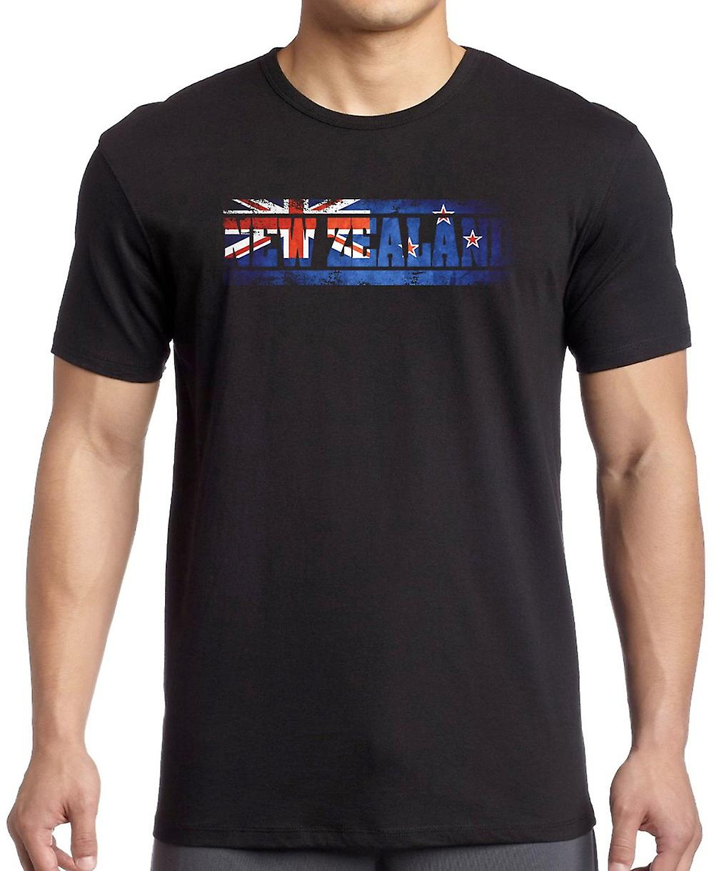 New Zealand Kiwi Flag - Words T Shirt