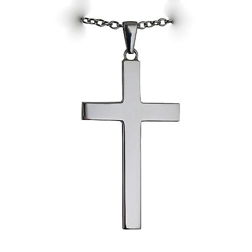 Silver 55x33mm Plain solid block Cross with a Cable Link Chain