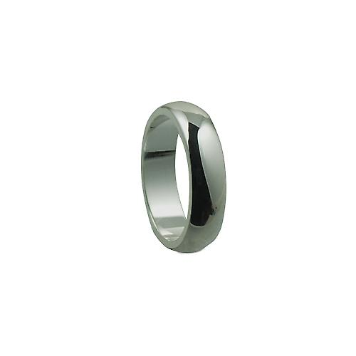 Silver 5mm plain D shaped Wedding Ring Size L