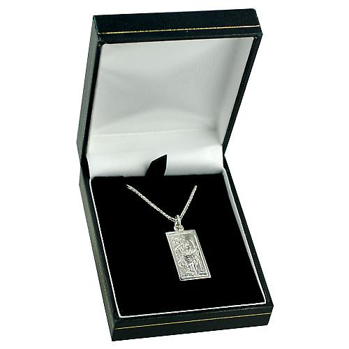 9ct White Gold 26x13mm rectangular St Christopher Pendant with a spiga Chain 16 inches Only Suitable for Children