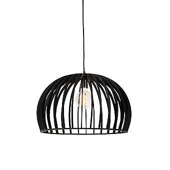 QAZQA Arte Deco redonda luminária preto madeira 50cm - Twain